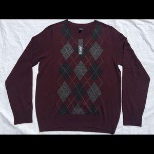 Men's Preppy LS Merino Wool V Neck Argyle Sweater